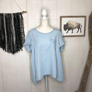 J. Jill denim high low flowy t-shirt Blouse.